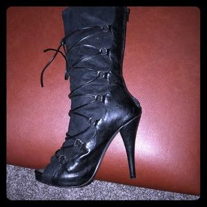 Shoes - Front Tie High Heeled Boots